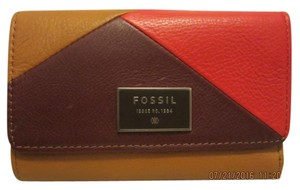 Fossil Red Multi Dawson Leather Envelope Wallet