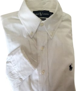 Ralph Lauren Button Down Shirt White With Navy Logo