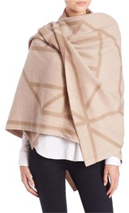 Tory Burch Tory Burch Fret Jacquard Wool & Cashmere Blanket Scarf color bark