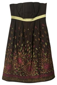Anthropologie short dress Brown, multi, fall colors Brown Floral on Tradesy