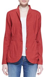 Eileen Fisher Peplum Soft Linen Red Blazer