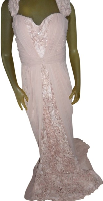 Item - Peach With Scarf/ Shawl Ball Wedding Prom Gown Long Formal Dress Size 10 (M)