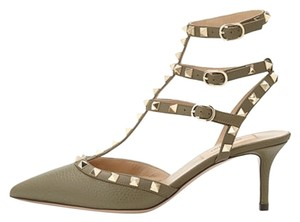 Valentino Pebbled Leather With Golden Rockstud Trim. Three Adjustable Ankle Straps Connect To Halter Strap. 2.5