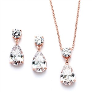 Mariell Rose Gold Cubic Zirconia Teardrop Bridal Or Bridesmaids Necklace Set 4172s-rg