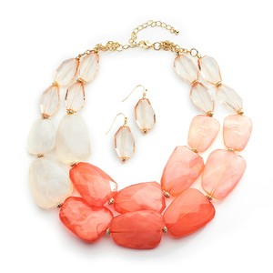 Mariell Coral Pastels Chunky Statement Necklace & Earrings For Prom Or Bridesmaids 4112s-cor
