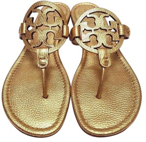 Tory Burch Bold Logo Metallic Gold Sandals