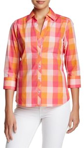 Foxcroft Button Down Shirt Cherry Blossom Pink & Orange