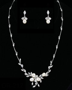 Pearl/Silver And Cz Necklace and Earring Jewelry Set