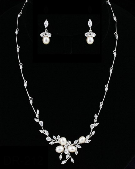 Pearl/Silver And Cz Necklace and Earring Set Jewelry Sets