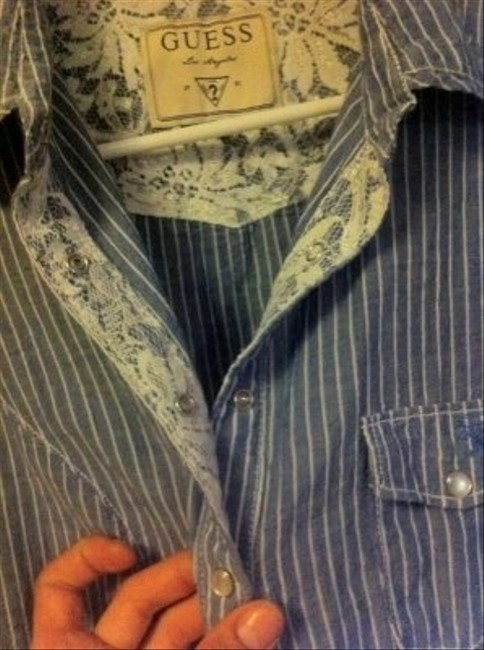 Guess Women's Large Pinstripe Detailed Weight Button Down Shirt Light Blue/White/Lace