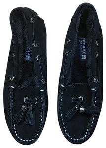 Sperry Moccasin Slippers Leather Black Flats
