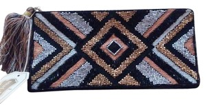 Mudpie Art Deco Style Beaded silver and gold and black Clutch