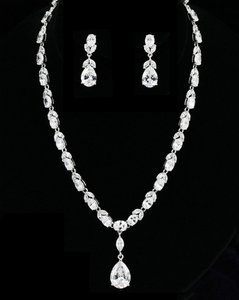 Clear Cz Aaa-quality Necklace and Earring Jewelry Set