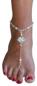 Mariell Filigree Barefoot Bridal Sandal Foot Jewelry with Ivory 4473FT-LTI