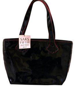 Saks Fifth Avenue Handbag Ave Flowers Tote in Black & red
