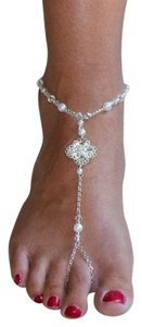 Mariell Filigree Barefoot Bridal Sandal Foot Jewelry with White 4473FT-W