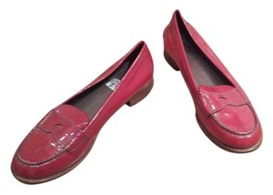 Prada Patent Leather Loafers Classic Red Flats