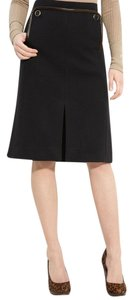 Tory Burch Joan Leather Trim Skirt BLACK