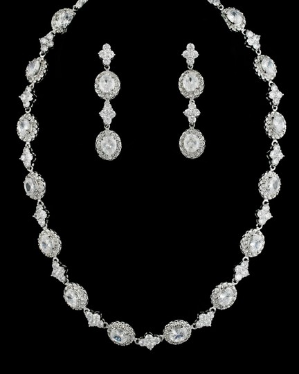 Clear Cz Aaa Necklace and Earring Jewelry Set