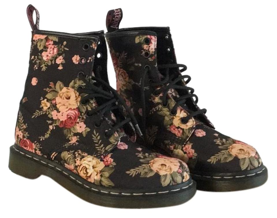 Dr. On Martens Black/Flowers 1460w Victorian On Dr. Canvas Boots/Booties 0c31bf