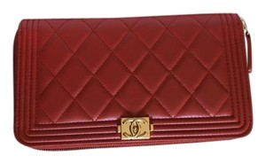 Chanel Chanel lambskin leather boy zip around wallet Red New