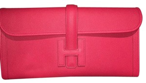 Herms Hermes Jige Elan Red Bougainville Clutch