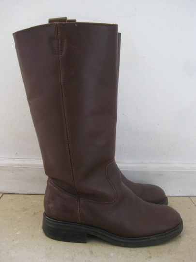 J.Crew Extended Calf Riding Made In Italy Leather Dark Brown Boots