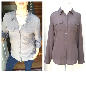 Ann Taylor Button Down Shirt Olive Green