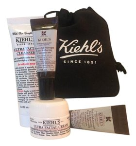 Kiehl's ultra face cleanser, cream, eye brightening,line reducing+pouch