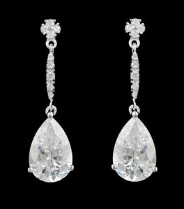 Cz And Rhodium Earrings