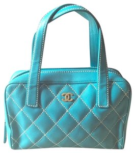 Chanel Vintage Leather Gold Hardware Tote in Light Blue