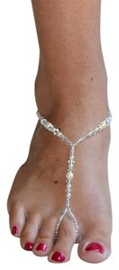 Mariell Crystal and Glass Pearl Foot Jewelry Barefoot Sandal 4474FT-LTI