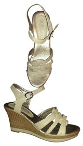 Shan Yi Renda Leather Wedge Cream and brown Sandals