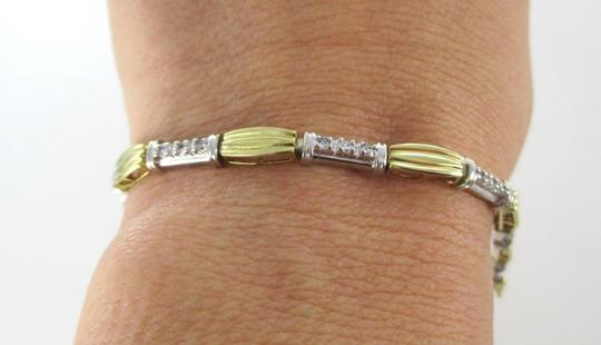 Other 14K SOLID YELLOW WHITE GOLD BRACELET BANGLE 27 DIAMONDS .50 CARAT FLUTED JEWEL