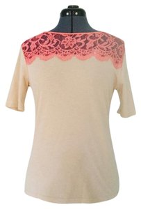 Ann Taylor Lace Sz. M Yoke T Shirt Beige and Coral
