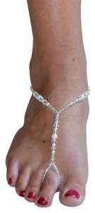 Mariell Crystal and Glass Pearl Foot Jewelry Barefoot Sandal 4474FT-W