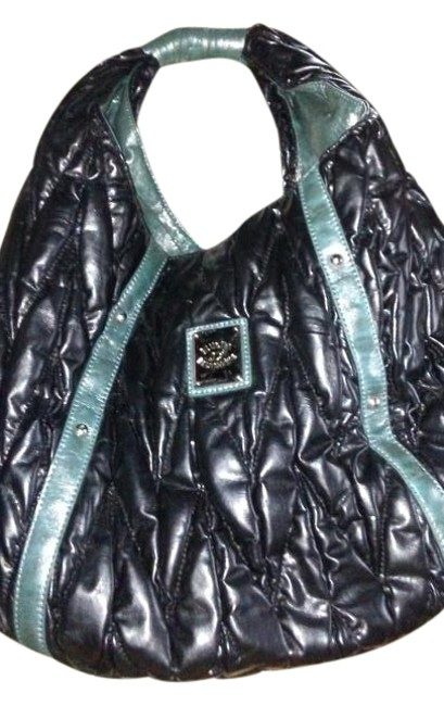 Blumarine Bluegirl Made In Italy Quilted Black with Blue Leather Shoulder Bag Blumarine Bluegirl Made In Italy Quilted Black with Blue Leather Shoulder Bag Image 1