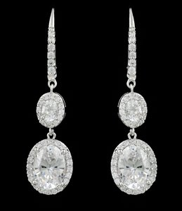 Cz/rhodium Earrings