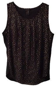 Ann Taylor Work Metallic Sleeveless Top Navy/Gold