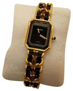 Chanel Premiere Classic Watch Gold Metal and Black Leather Band