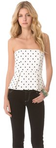 Alice + Olivia And Strapless Night Out Polka Dot Top Black, White