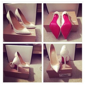 Christian Louboutin Fashion Red Bottoms Trendy White Pumps