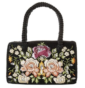 Mary Frances Italian Rose Black Beaded Floral Embroidery Formed Satchel in Multi-Color
