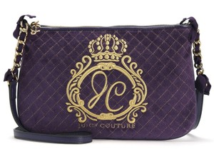 Juicy Couture Jc Monogram Aubergine Quilted Velour Flat Cross Body Bag