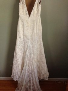 David's Bridal All Over Beaded Lace Trumpet Gown- Style T9612 Wedding Dress