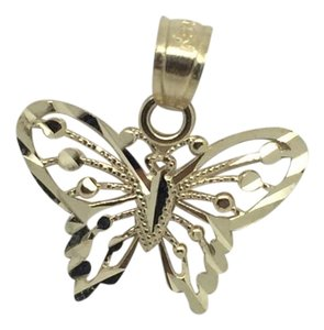 14K Yellow Gold Diamond Cut Butterfly Pendant