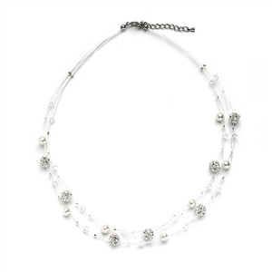 Mariell Sarah's Special 2-row Floating Pearl Crystal And Rhinestone Fireball Illusion Wedding Necklace