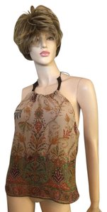 Ralph Lauren Tan paisley silk Halter Top