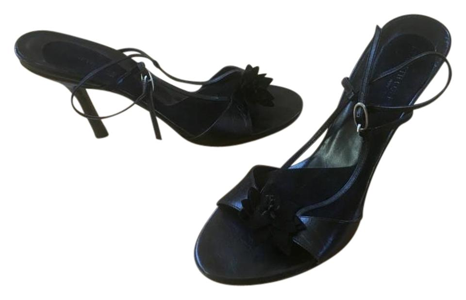 2dc7c1a9cd52 Kenneth Cole Black Leather Strappy Sandals Herls Pumps Size US 10 ...