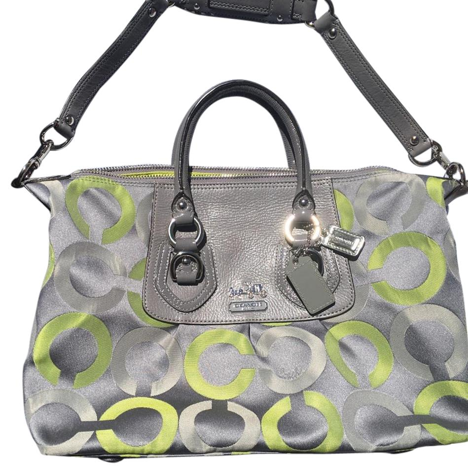 a2202cccf0 Coach 13861 Madison Op Art Sabrina Tote Lime Green and Gray Fabric ...